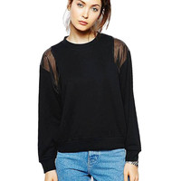 Black Sweatshirt with Mesh Insert Shoulder