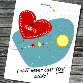 Planet Pluto Nerdy Space Valentine | Retro Valentine's Day Card | Teacher Student Boyfriend Girlfriend Friend | Physics Astronomy Science