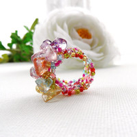 Multicolored Ring - Adjustable Ring - Quartz Chips Ring -  Handmade Jewellery
