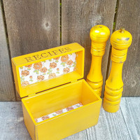 Marigold Yellow SHABBY CHIC kitchen set of Rustic Wood Recipe Box AND Tall Salt shaker and Peppermill