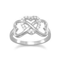 Sterling Silver Heart Infinity Ring