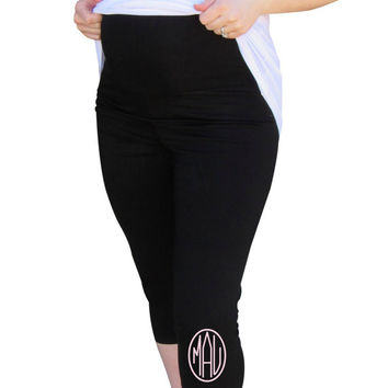 Monogrammed Capri Leggings- Maternity Wear