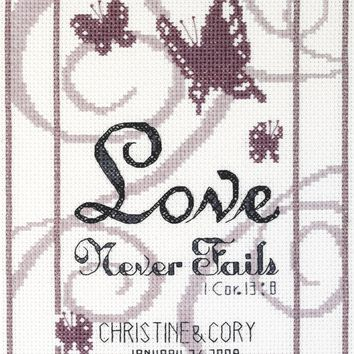 "Love Never Fails Counted Cross Stitch Kit 6""X8"" 14 Count"