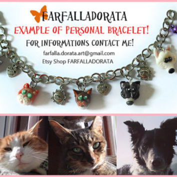 Animals bracelet customizable with portraits of your pets, modeled by hand in cold porcelain.