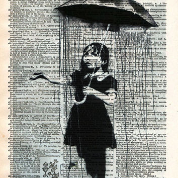 Umbrella girl, Banksy NOLA art print, Vintage dictionary wall art