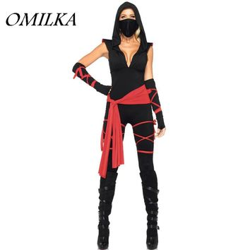 OMILKA 2017 Autumn Women Hooded Halloween Make Up Bandage Rompers and Jumpsuits Sexy Black V Neck Party Festival Overalls