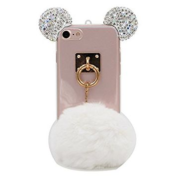 iPhone 7 Case, MC Fashion Flexible 3D Bling Bling Crystal Rhinestone Mickey Mouse Ears Soft Clear Transparent TPU Shell Case Skin for Apple iPhone 7 (2016) (Clear Ears with White Fur Ball)