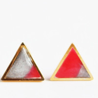 Silver and Coral Triangle Earrings