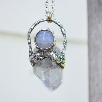 Clear Quartz Blue Chalcedony Man in Moon Necklace