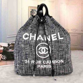 Perfect CHANEL Women Fashion College Canvas Satchel  Bookbag Backpack