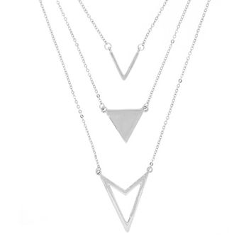 Silvertone 3 Layered Chevron Pendant with a 20 Inch Adjustable Link Necklace