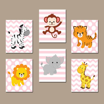 GIRL Jungle Wall Art CANVAS or Prints Safari Theme Zoo Animals Nursery Baby Girl Nursery Girl Bedroom Decor Artwork Girl Wall Art Set of 6