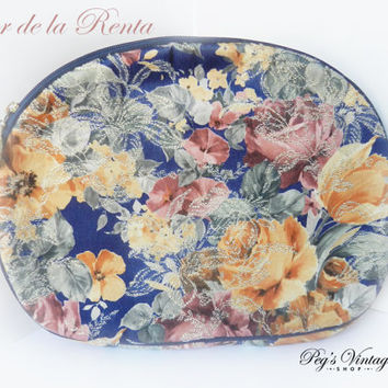 Vintage Oscar de la Renta Cosmetic Bag, Large Floral Make Up Bag, Designer Fashion Accessories