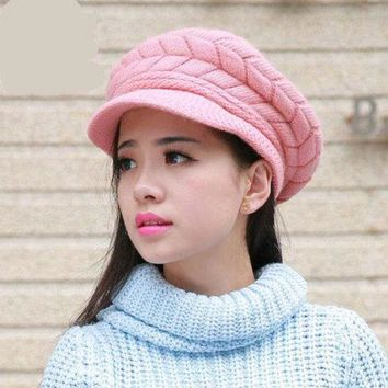 ONETOW Hot Sale Women Beret Hat Crochet Warm Winter Hats Women Knitted Cap Headwear New Fashion 2017 women winter hat