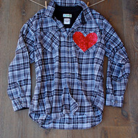 Sequin Flannel Shirt with Sequin Heart Pocket Patch Boyfriend Flannel Shirt Womens Grunge Flannel Gift Ideas for Her Teen Gifts Plaid Shirt