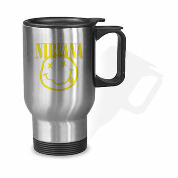 NIRVANA SMILEY ROCK BAND FACE COOL MUSIC PUNK KURT COBAIN Stainless Mug