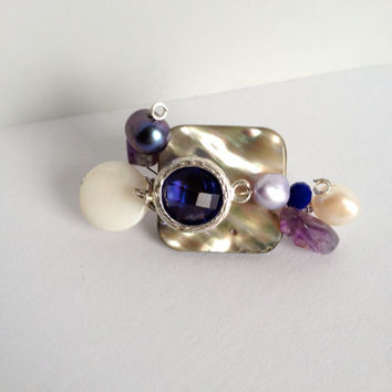 Abalone, Shell, Crystals, Amethyst and Pearls Brooch - Abalone Brooch