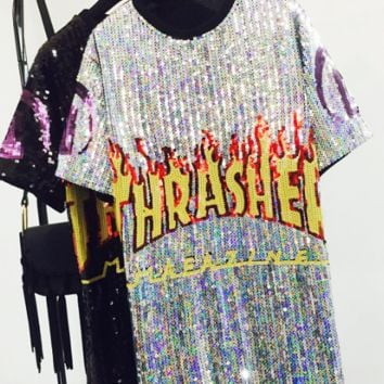 THRASHER SEQUINS SHINING ROUND COLLAR SHORT SLEEVE LONG SHIRT DRESS