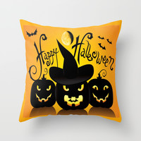 Happy Halloween Pumpkins Silhouette  Throw Pillow by DaddyDan360