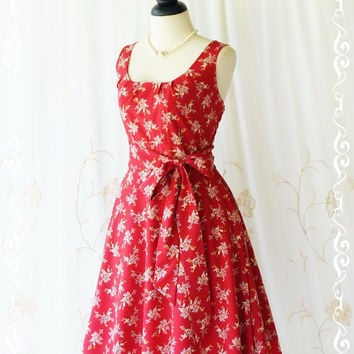 My Lady Floral Sundress Red Floral Spring Summer Dress Vintage Inspired Dress Garden Party Dress Red Floral Bridesmaid Dresses XS-XL Custom