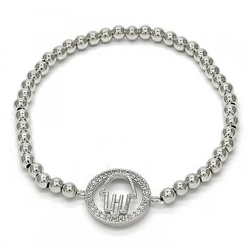 Rhodium Layered 03.207.0067.07 Fancy Bracelet, Hand of God Design, with White Micro Pave, Polished Finish, Rhodium Tone