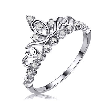 Authentic STERLING SILVER 925 Queen Crown Princess Tiara Ring