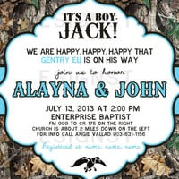 Camouflage Its A Boy Jack Duck Dynasty Inspired Baby Shower Invitation  - Printable