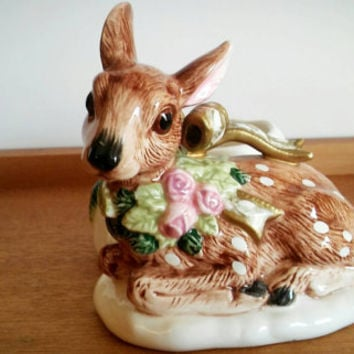Vintage Fitz and Floyd Porcelain Deer Candle holder