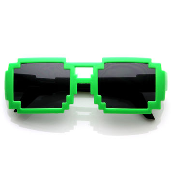 Geek Funky Retro Square Block Pixelated Sunglasses 8572