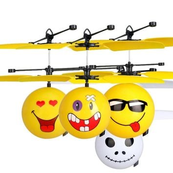 2017 colorful fashion For ages 8+ Infrared Sensor Hand Induced Flight Emoji Flying Helicopter Balls RC Drone Toys gift st19 p35