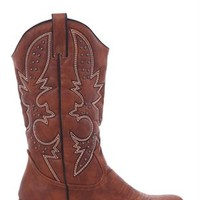 Tall Western Boot with Stitching at Top and Pointed Toe