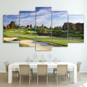 5 Piece canvas print Golf Course - Golfing Panel Wall Art Picture Print - 44""
