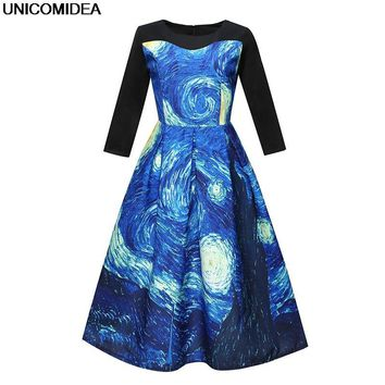 Van Gogh Starry Sky Floral Flower Long Sleeve Autumn Women Dress Happy Halloween Dress Pumpkin Jurken Big Swing Vestido de Festa