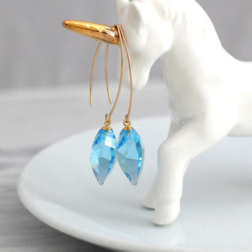 Aquamarine Earrings, Light Blue Earrings, Long Blue Sky Earrings, Gold Filled Blue Drop Earrings, Blue Dangle Earrings, Bridesmaids Earrings