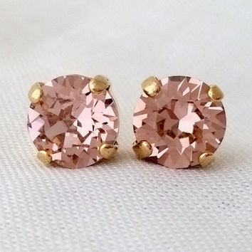 Blush pink earrings, Blush crystal stud earrings,Blush earrings, Bridesmids gift, Blush gold earrings, Gold earring, Swarovski crystal studs
