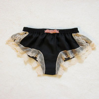 Black Chiffon and Velvet Bow Boxer/style KOKUCHO (made to order)