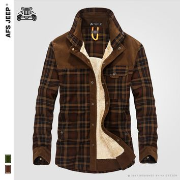 Men Winter Flannel Thick Plaid Dress Shirts Long-Sleeve Fashion Cotton Casual Shirts Quality British Style Fleece Wear Male Army