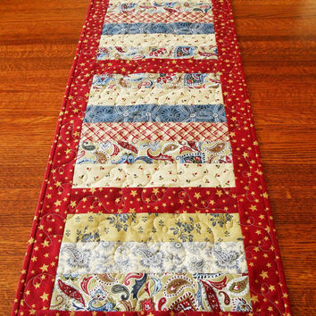 Americana Quilted Table Runner - Western Table Runner - Patriotic Table Runner - Red Blue and Cream Table Quilt