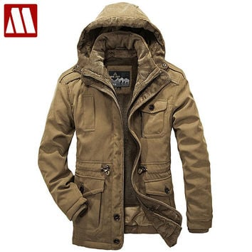 Detachable Fur Liner Winter Coat Men Hooded Jackets New Warm Thick Coats Military Vintage Style Mens Clothing