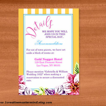 DIY Wedding Template detail card, Instant Download, Editable PDF, Printable, Digital, Floral with Yellow and White Stripes #1CM80-3