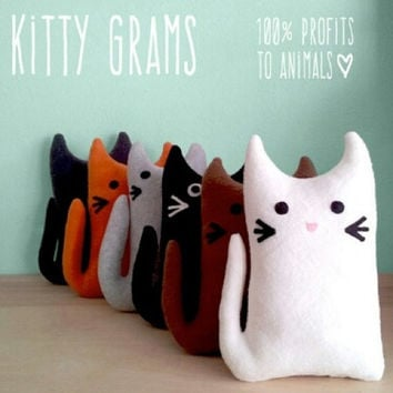 KITTY GRAM Family Plush Cat Fundraiser 100% Profits to Animals, Stuffed Animal, Cat Plushie, Cat Softie, Cat Pillow