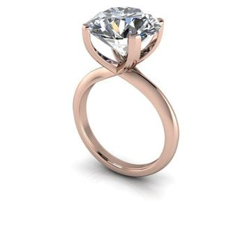 Large Stone High Set Round Engagement Ring - Russian Brilliants Round Solitaire Ring