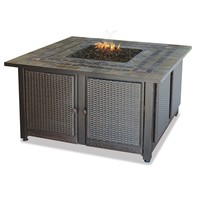 SheilaShrubs.com: Endless Summer LP Gas Outdoor Firebowl With Slate Tile Mantel & Copper Accents GAD1393SP by Blue Rhino: Fire Pits