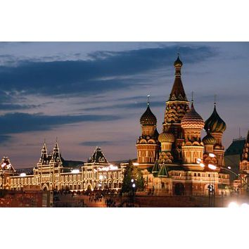 Moscow Red Square Skyline poster Metal Sign Wall Art 8in x 12in