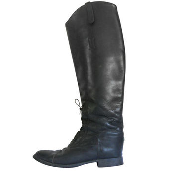 English Riding Boot Horse Riding Boot Equestrian Boot Lace Up Boot Knee High Boot Women Shoe Size 9 Ladies Boot Tall Black Boot Made in USA
