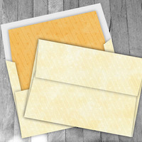 Yellow Arrow A7 Envelope, digital 5x7 diy printable envelope template kit, includes instructions, 2 envelope liners and 2 digital papers