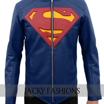 Superman Man of Steel Blue 100% Geniune Leather Jacket + FREE GIFT INCLUDED