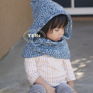 Pixie Style Blue and Pink Hooded Cowl - adult size available