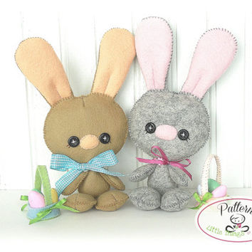 Baby Bunny PDF Pattern-Easter Bunny sewing pattern-Cute Rabbit plush toy-Easter present-Baby shower present-Wool felt Bunny-Bunny rabbit