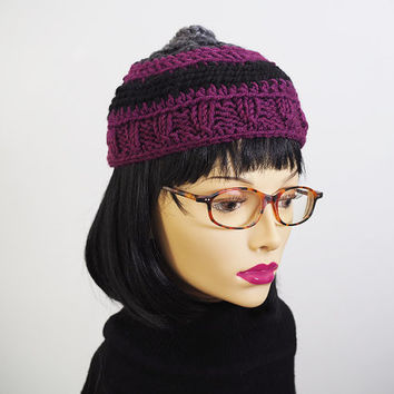 Purple crochet beanie - Womans knit hat - Ready to ship - Crochet hat - Multicolor beanie - Chunky knit - Teen girl hat - Warm winter hat